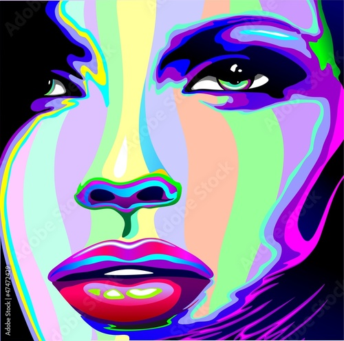 Portret dziewczyny Psychedelic Rainbow-Viso Ragazza Psychedelico