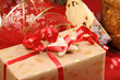 Christmas composition with present and panettone