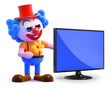 Clown with flatscreen lcd hd television