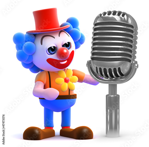 Clown with old microphone