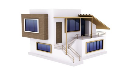 Modern house model with alpha channel