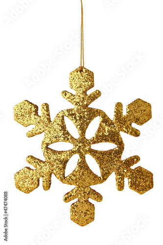 gold xmas snowflake isolated