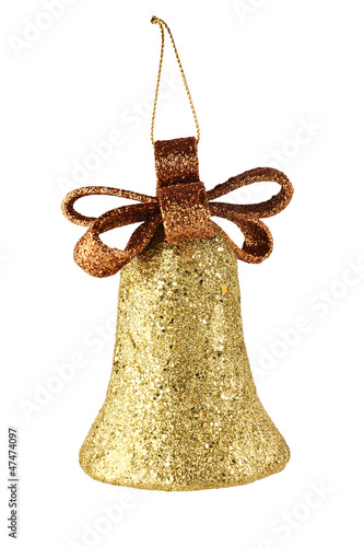 gold xmas bell isolated on white