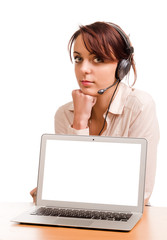 Woman with headset and blank computer screen