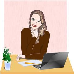 Девушка на рабочем месте