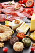 Antipasto catering platter with red wine