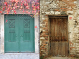 the number one and two: green iron door and brown wooden door