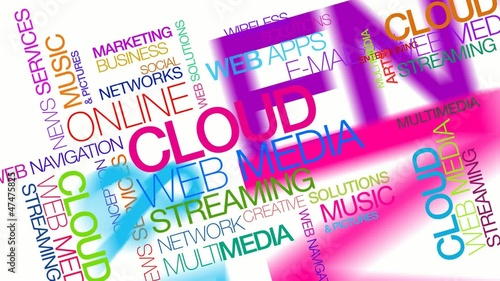 Cloud computing web media streaming apps tag cloud video