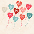 Background with balloons in the shape of heart.