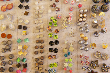 Earing Counter with colorful and various different earings