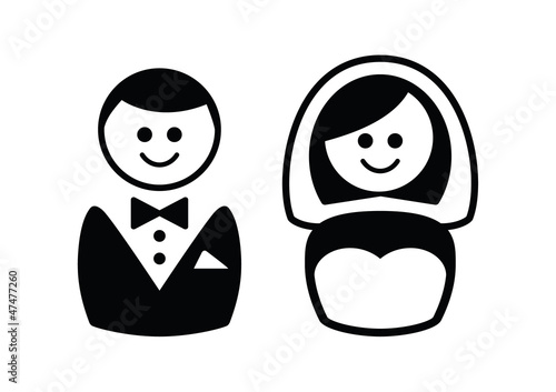 Married couple icons - broom and bride