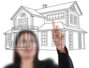Business lady pushing house plan on the white board.