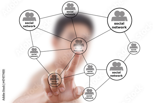 Businessman Pushing Social Network diagram.