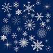 light snowflakes on dark blue background