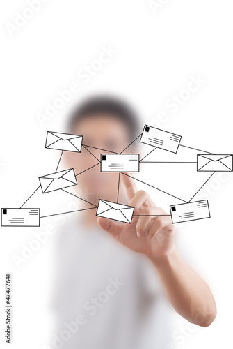 Businessman pushing mail for social network.