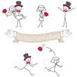 Strichmännchen, Hochzeitseinladung, Brautpaar, Set 1
