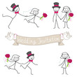 Stick figures, wedding invitation, bridal couple, set 3