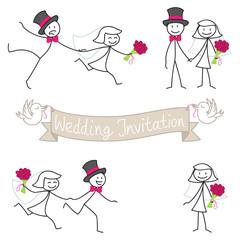 Stick figures, wedding invitation, bridal couple, set 3