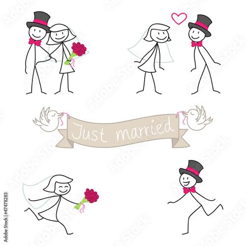 Strichmännchen, Hochzeitseinladung, Just married, Set 2