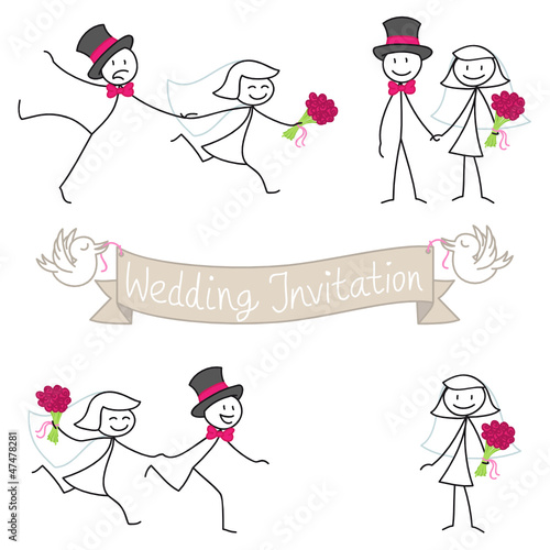 """Stick Figures, Wedding Invitation, Bridal Couple, Set 3"