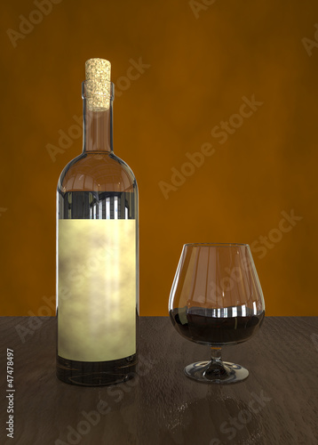Glass and bottle of wine