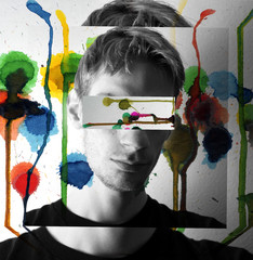 Colorful painting concept image of male model