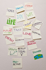 Positive sticky notes closeup