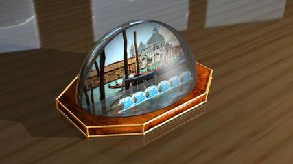 Palla di neve, venezia, natale, rendering 3d