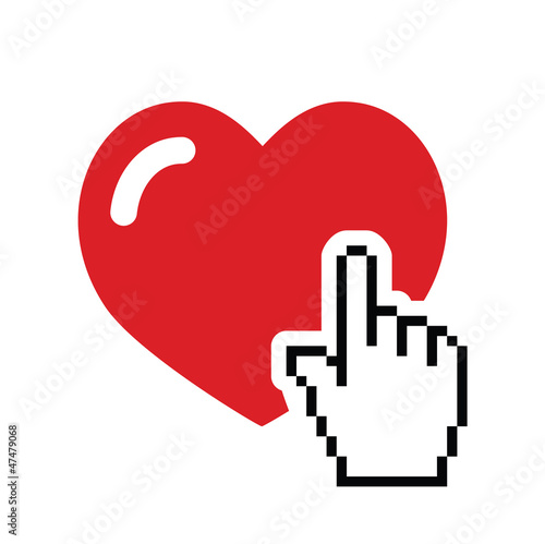 Heart with cursor hand icon - velntines, love, online dating
