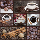 Compilation collage of warm coffee and caffeine related images poster