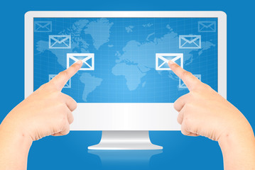Hand pushing mail social network communication.
