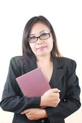 Business Lady holding her notebook.