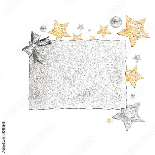 Gold and silver  stars on card for text