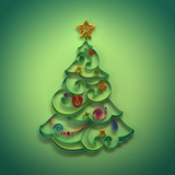 paper quilling Christmas tree decoration greeting