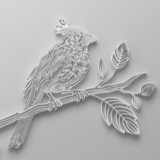 White filigree quilling paper bird poster