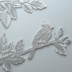 White decorative ornate paper quilling bird background