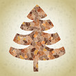 Christmas Tree Greeting Card ... mosaic  in brown