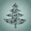 Christmas Tree Greeting Card ... made of spider-web
