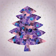 Christmas Tree Greeting Card ... mosaic pieces in purple