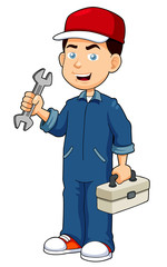illustration of Cartoon serviceman holding tool box