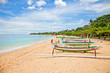 canvas print picture - Beautiful tropical beach with fisherman's boats in Nusa Dua on B