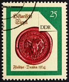 Postage stamp GDR 1988 Dresden Butcher, Seal from 1564