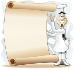 Cook Chef Cartoon with Vintage Poster Menu-Cuoco con Pergamena