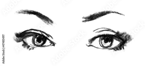 Female eye close-up. Portrait of beautiful girl, sketch