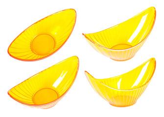 Four halfmoonlike yellow transparent vases