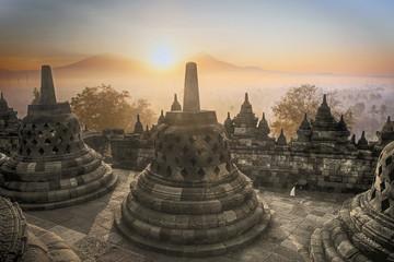 Borobudur Temple sunrise in Indonesia