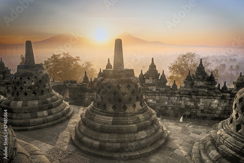 Borobudur Temple sunrise in Indonesia