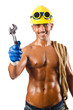Naked construction worker on white