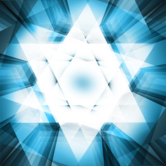Six pointed star in blue stained glass background