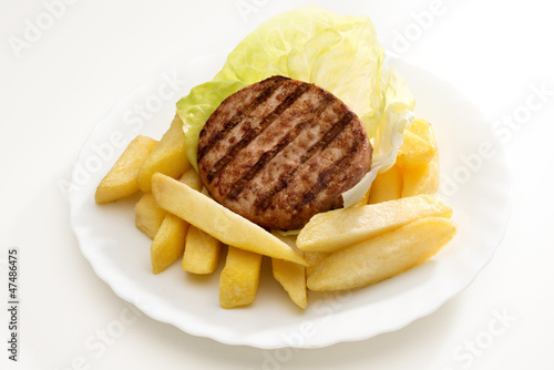Hamburgers and chips